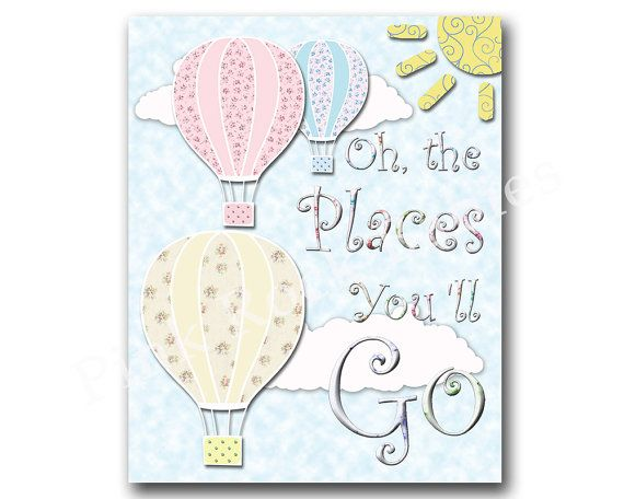 oh the places you 'll go neutral nursery artwork by PinkRockBabies