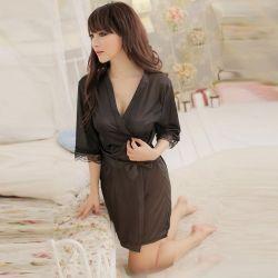 Fashion Ice Silk Bathrobe with Lace Cuff for Women Black
