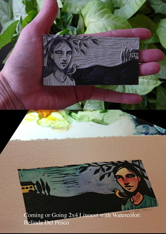 Teeny blockprint: Linocut and watercolor titled Coming or Going - at http://www.belindadelpesco.blogspot.com