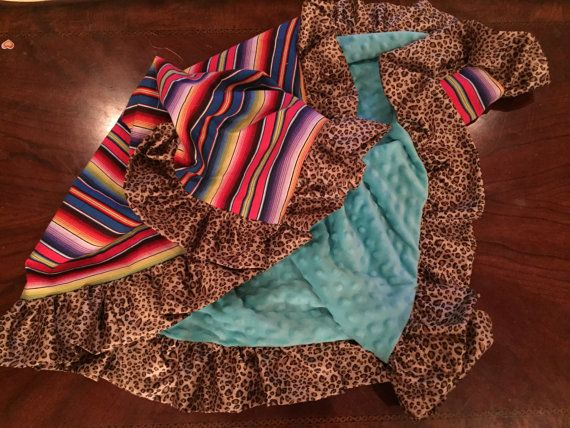 Cotton Serape/ turquoise dimple dot baby by CinnysLaceCreations