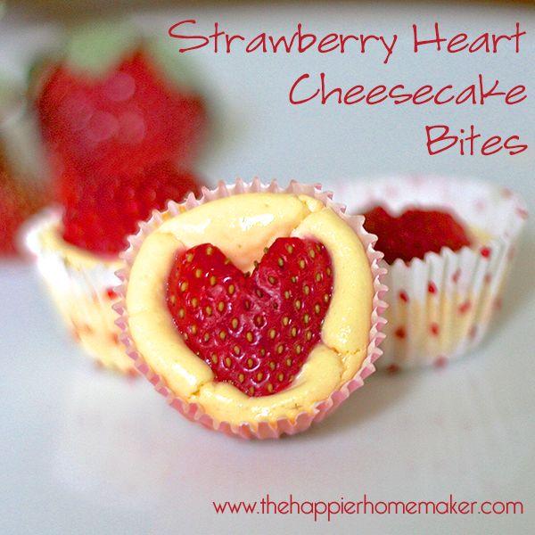 Strawberry heart cheesecake bites.