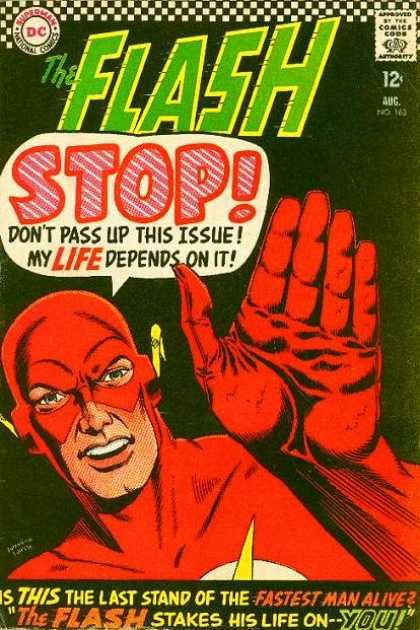 The Flash (1959) #163 - Silver age Flash books were great for gimmicks like this - now you'd never see a comic book character breaking the fourth wall