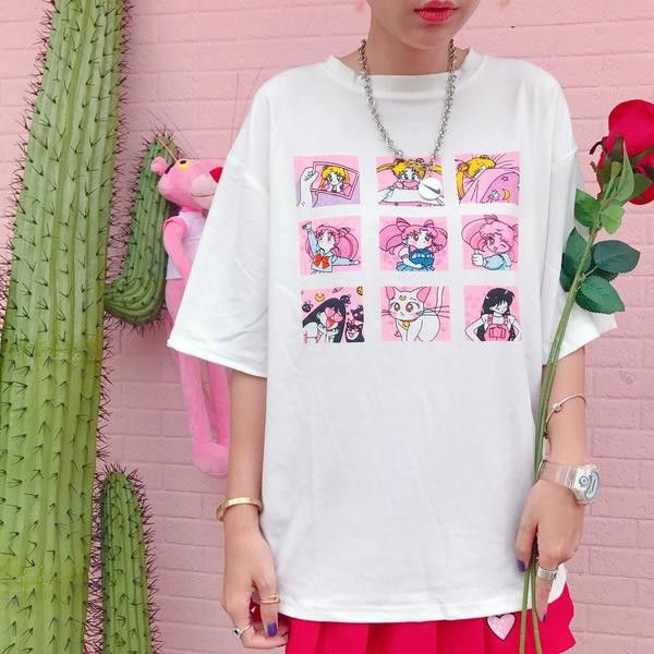 Pink/White Sailor Moon Cartoon Printing T-shirt SP179890