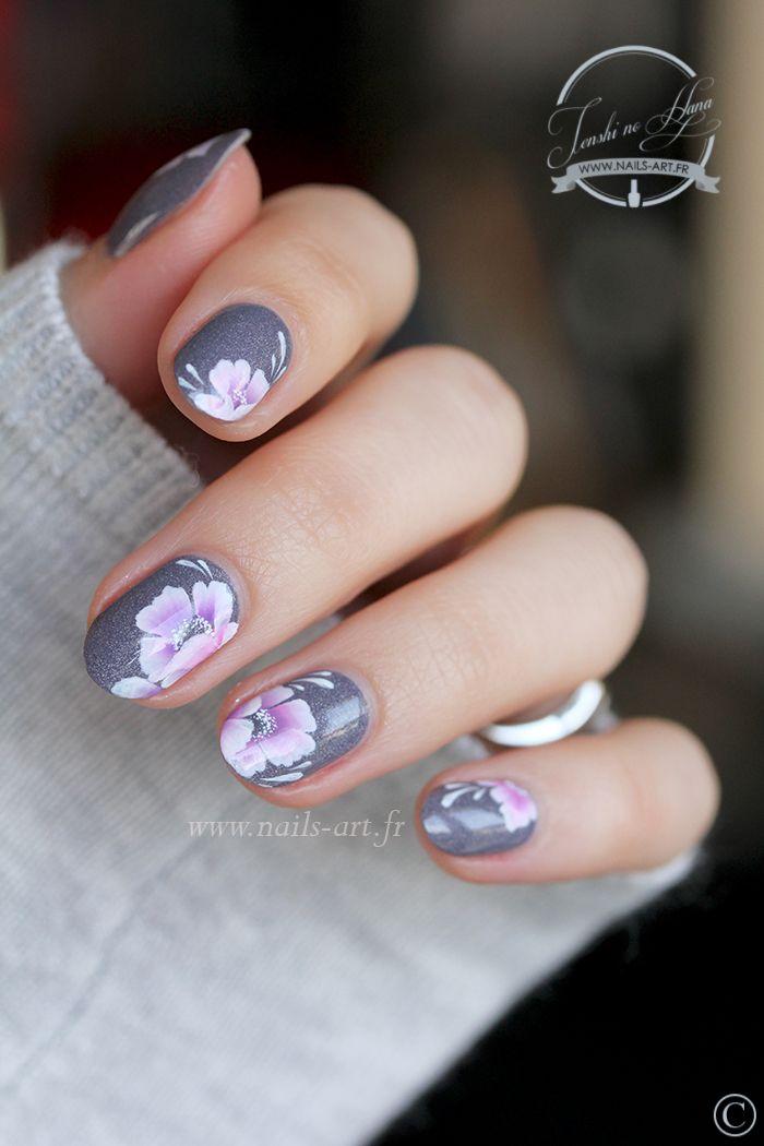 Nail Art, one stroke perle de gris