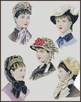 0 point de croix femmes et chapeaux victoriens - cross stitch Victorian Hats ladies
