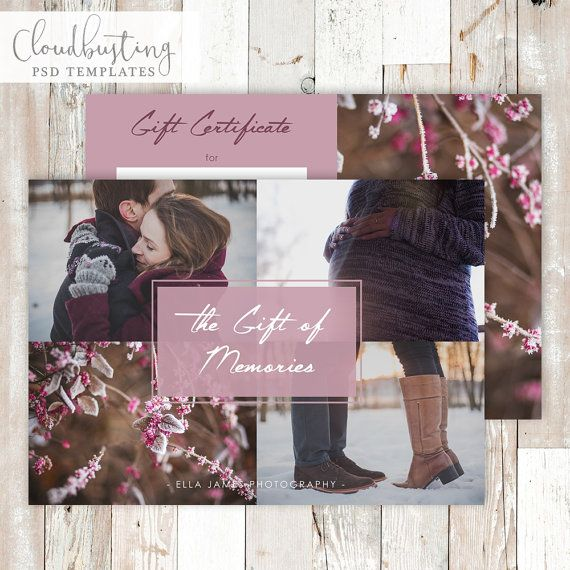 Photography Gift Certificate Card - Customizable Photoshop Template - https://www.etsy.com/listing/285373159