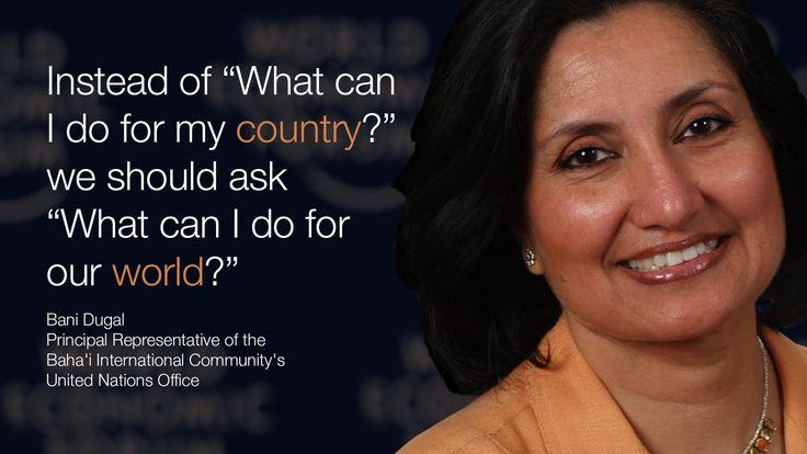 """Instead of """"What can I do for my country?"""" we should ask """"What can I do for the world?"""" - Bani Dugal in #Davos at #wef15"""