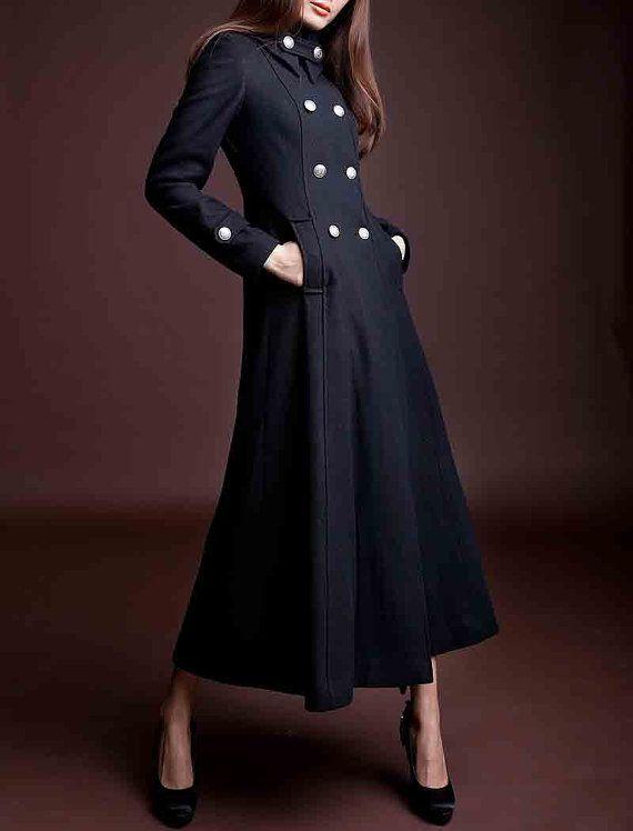 Black Wool coat women's Coat women dress Autumn by happyfamilyjudy, $189.99