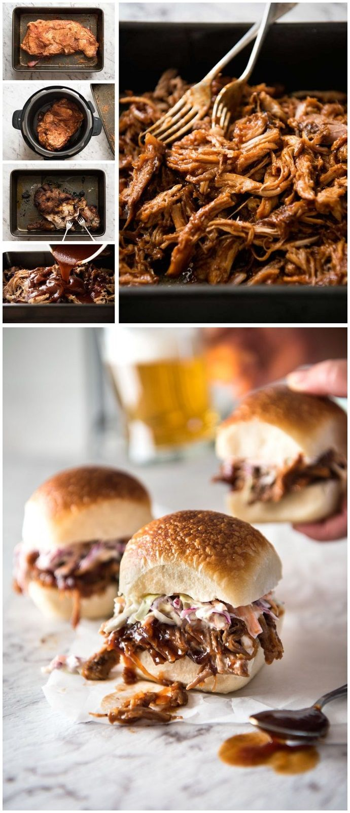 Slow Cooker BBQ Pulled Pork Sandwich. Tender perfectly seasoned slow cooker pulled pork smothered in a homemade BBQ Sauce (see notes for using store bought). Add a classic coleslaw then pile it high onto buns! Great food for gatherings - easy and good value to feed a crowd. Make this in the slow cooker, oven or pressure cooker.