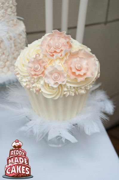 Formal Modern Romantic Rustic Vintage Ivory Pink White Buttercream Cupcakes Flowers Multi-shape Museum Ribbon Wedding Cake Winter Wedding Ca...