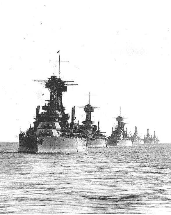 US Battlefleet 1920's -- Colorado, Maryland, West Virginia, Tennessee & three older BB's