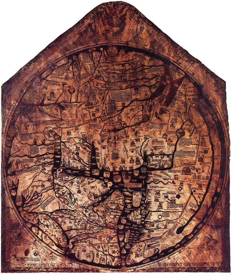 Hand-painted on calfskin vellum, the Hereford Mappa Mundi is the world's largest medieval map