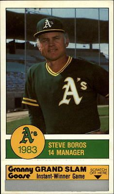 1983 Oakland Athletics A's Granny Goose Baseball Card #14 Steve Boros MG