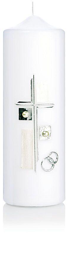 39,90€ Die Hochzeitskerze Nr. 11 ist verziert mit silbernen Ringen, Kreuz und Perlen. Die Kerze aus dem Hause Wiedemann hat eine Abmessung (H/DM) von 240/80 mm. Im Preis ist die Kerze samt Verzierung und Ihrer individuellen Beschriftung mit Vornamen und Datum (z.B. Claudia & Martin 20.07.2013) enthalten.