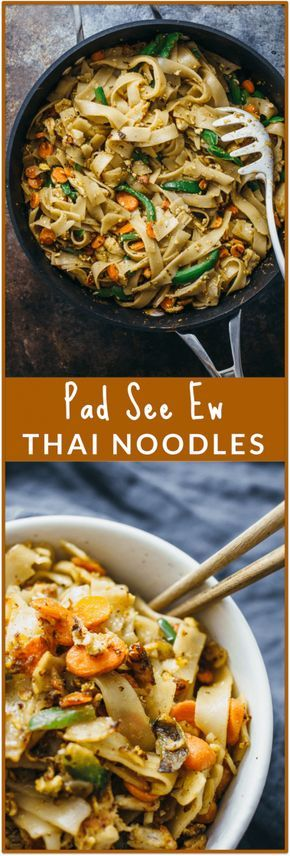Pad see ew with chicken - Pad see ew (also spelled pad see you) is a delicious Thai dish with stir-fried noodles, vegetables, and chicken (or beef). This is absolutely my FAVORITE dish that I always get when I'm at a Thai restaurant! You'll love my homemade recipe reincarnation of this popular dish that's just as good as the kind you get in restaurants. - savorytooth.com