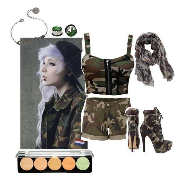 """Camouflage- Scene"" by lifeisagift01 ❤ liked on Polyvore featuring Veda Soul, Patrizia Pepe, Zadig & Voltaire, MAKE UP FOR EVER, emo, scene and monster"