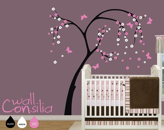 """Blossom Tree with Butterflies Wall Decal - Cherry Blossom Tree - Wall Sticker - Large: 75"""" high and 69"""" wide"""