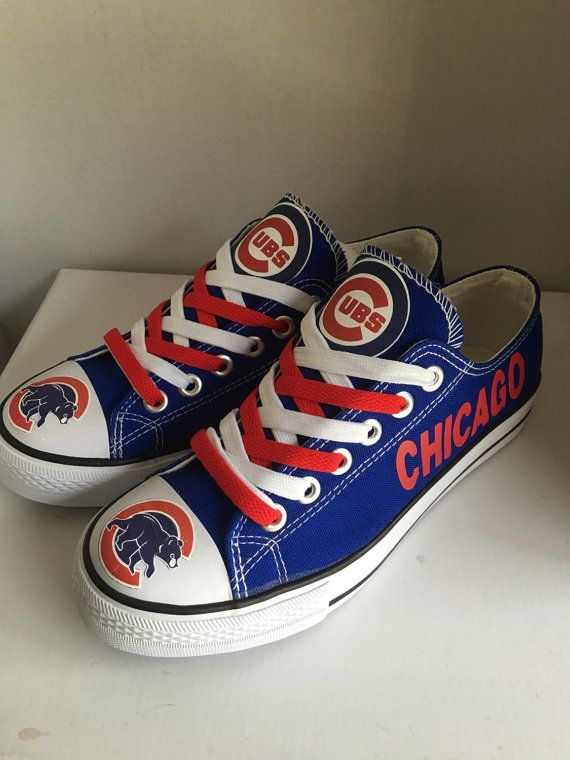 Chicago cubs tennis shoes by sportzshoeking on Etsy
