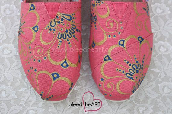 Gold Henna TOMS Shoes Henna Design Mehndi Art Custom