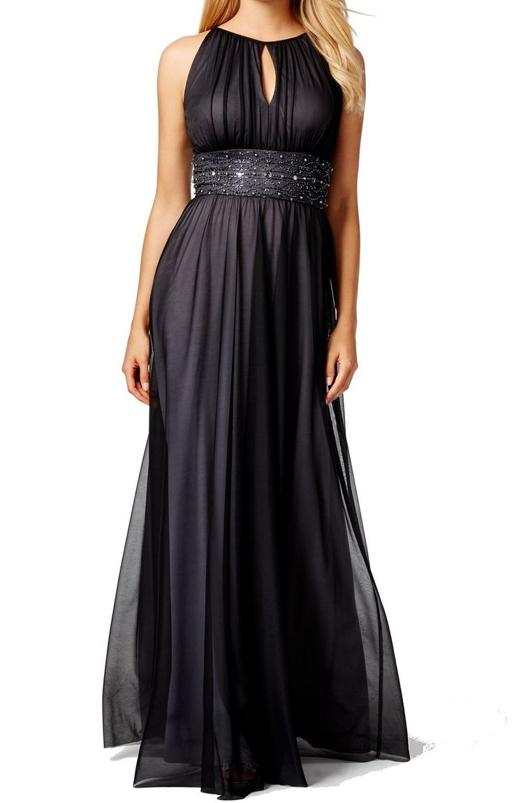 JESSICA HOWARD. Gray Beaded Embellished Keyhole Dress Gown . Taille 44.