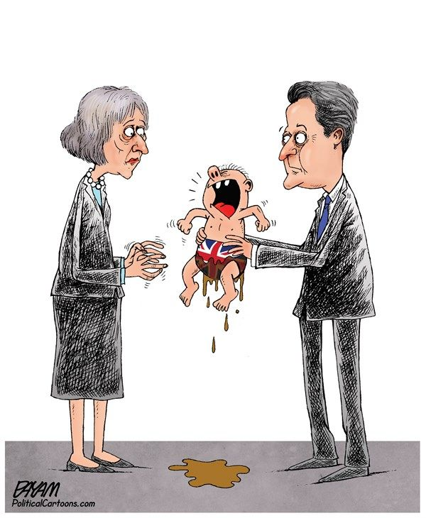 Payam Boromand - CAGLE.COM - Theresa May and David Camerons heritage - English - brexit,theresa may,david cameron,england,great britain,eu,europe,european union