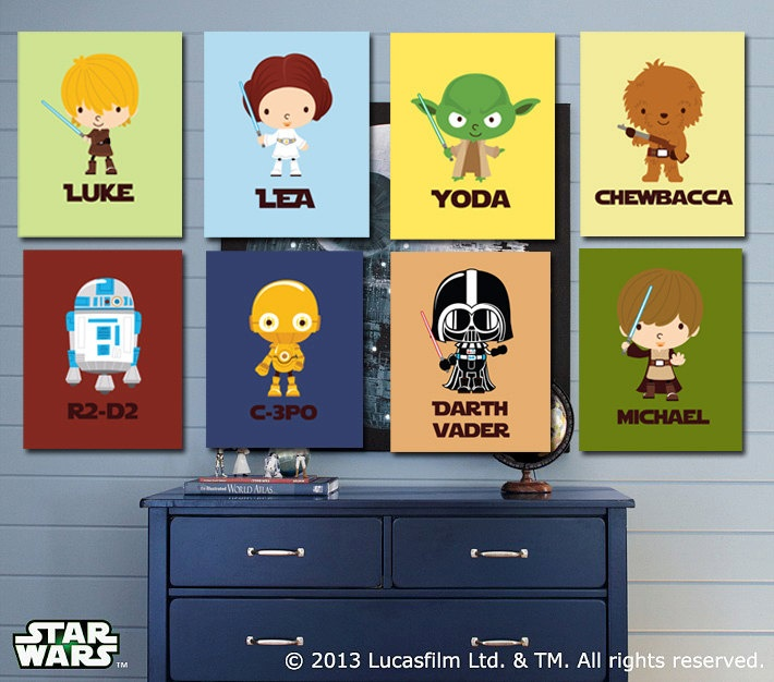 Personalized Star Wars Kids Art- The Ulimate Star Wars Collection- 8 - 5X7 Prints With Star Wars Characters. $59.00, via Etsy.