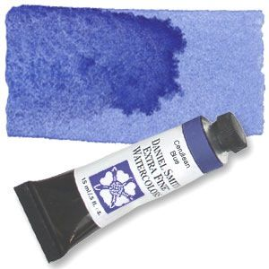Best when mixed with a transparent pigment, this sky blue inorganic pigment is granular and medium-light in value. Highly permanent and extremely low-staining, Cerulean Blue creates exciting granulati