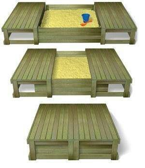Bac à sable et bancs pour le jardin. DIY avec des palettes > encore plus d'idées incroyable avec le mien du dessus : lit, échelle, mur d'escalade pour enfants, cabane...