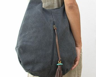stone canvas and Leather Tote Extra Large Handbag by RuthKraus