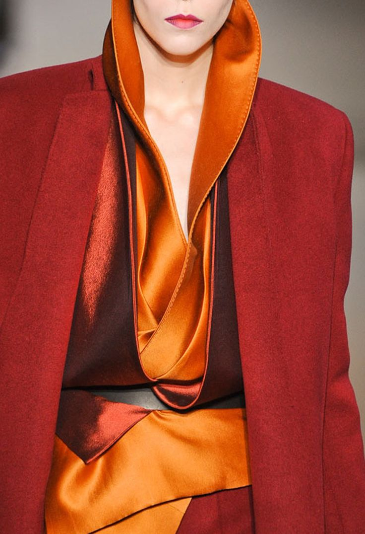 Takes a color magician to mix succesfully these tones.  Haider Ackermann FW 2012.