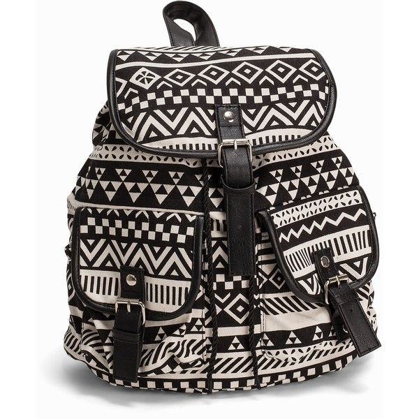 Nly Accessories Aztec Backpack ($36) ❤ liked on Polyvore featuring bags, backpacks, accessories, womens-fashion, draw string bag, backpack bags, drawstring backpack, drawstring flap backpack and flap bag