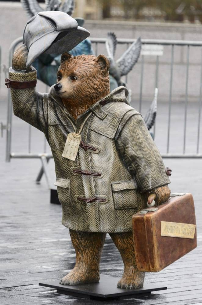 A Paddington Bear named Sherlock Bear ~ decorated by Benedict Cumberbatch Hugh Bonneville launching The Paddington Trail, London, Britain - 03 Nov 2014
