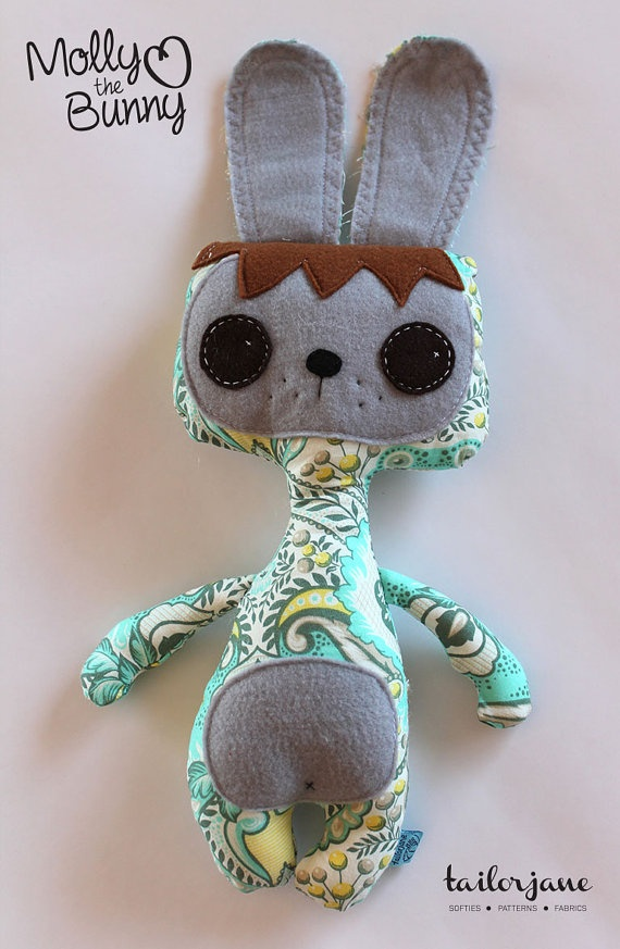 Molly the Bunny softie in teal by tailorjane on Etsy, $30.00