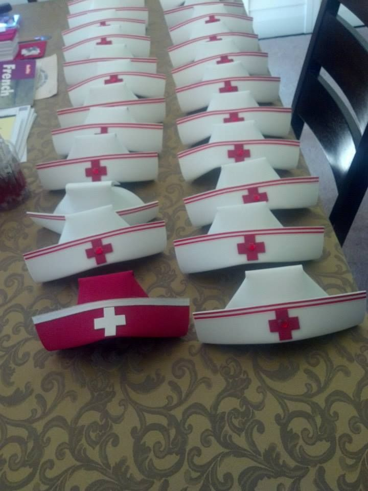 I made these hats for my niece's nursing graduation party. They are all made out of foam and one piece of ribbon.
