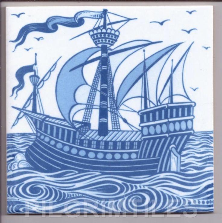 "William De Morgan Arts & Crafts ""Galleon"" Tiles / Fireplace / Kitchen / Bathroom"