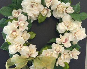Teal & Cream Magnolia Burlap Swag Magnolia Swag Magnolia