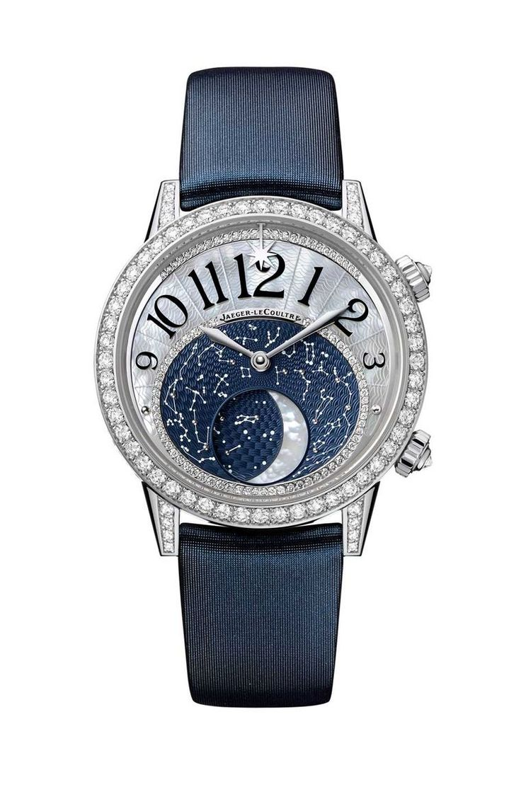 Jaeger-LeCoultre Rendez-Vous Moon watch recreates our satellite in mother-of-pearl as it completes its monthly cycle from full, new, waxing, gibbous, first quarter to first crescent. Surrounding the Moon is a nocturnal sky dotted with constellations, spri