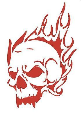 SKULL of FLAMES Airbrush Wall Art Paint Stencil Genuine Mylar Re-