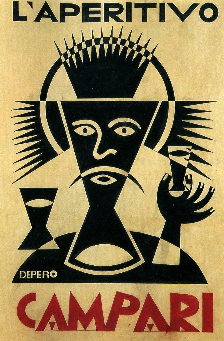 "bewarethebibliophilia: "" Fortunato Depero, Campari advertisement, 1928 """