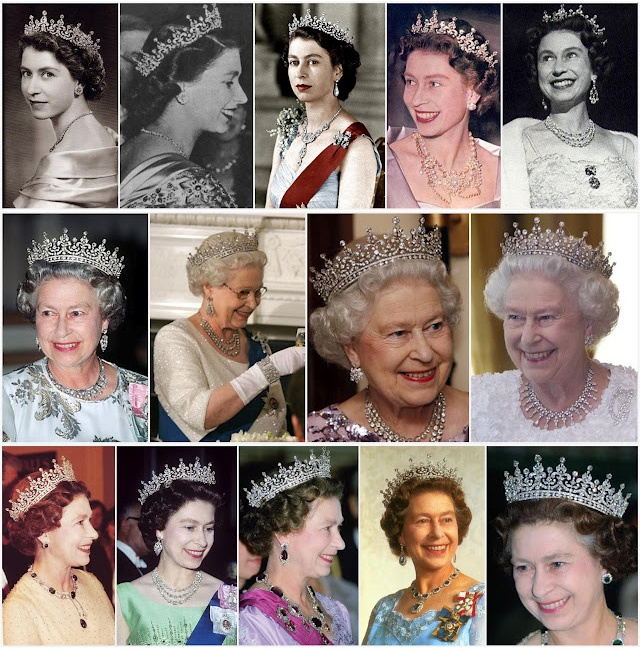 Queen Elizabeth II wearing the 'Girls of Great Britain and Ireland Tiara' over six decades.