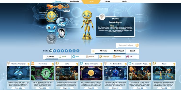 Education Through Technology! Dacobots are friendly robots created to help the children of Earth discover the beauty of the world. The eLearning games on this portal are perfect for kids who want to explore and learn at their own pace.