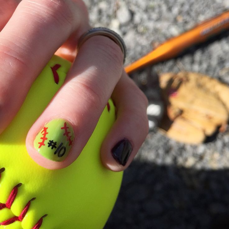 DIY softball nail design