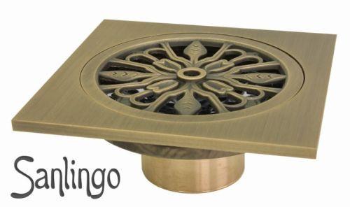 Antik-Messing-Bodenablauf-Abfluss-10x10cm-Dusche-Bad-Geruchsverschluss-Sanlingo