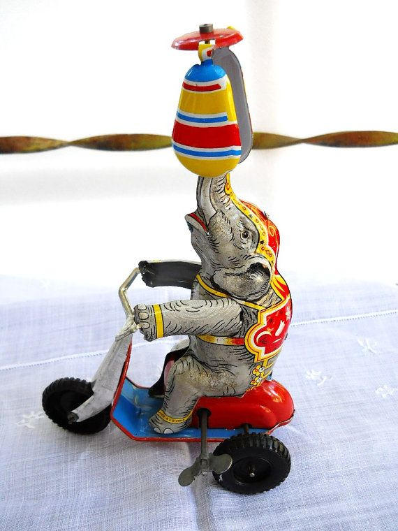Vintage 1940s US Zone Germany Wind Up Tin Litho Elephant Toy - Rides a Scooter & Spins a Propeller at the Same Time