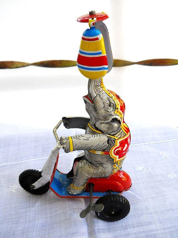 Vintage 1940s US Zone Germany Wind Up Elephant by SirGunnisonsFarm, $59.00