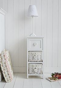 narrow 25 cm wide white bedside cabinet with hearts and baskets a pretty little bedside