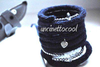 bracciale blu navy by uncinettocool