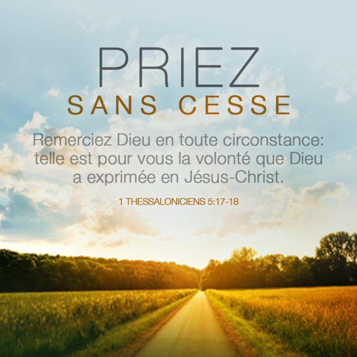 La Bible - Verset illustré - 1Thessaloniciens 5:17-18 - La prière