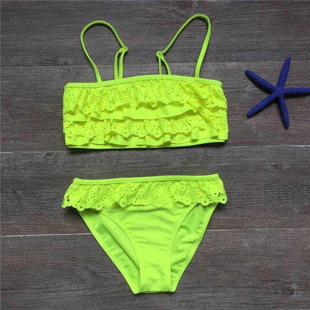 7-16years children swimwear falbala girls swimwear baby kids biquini infantil swimsuit bikini girl