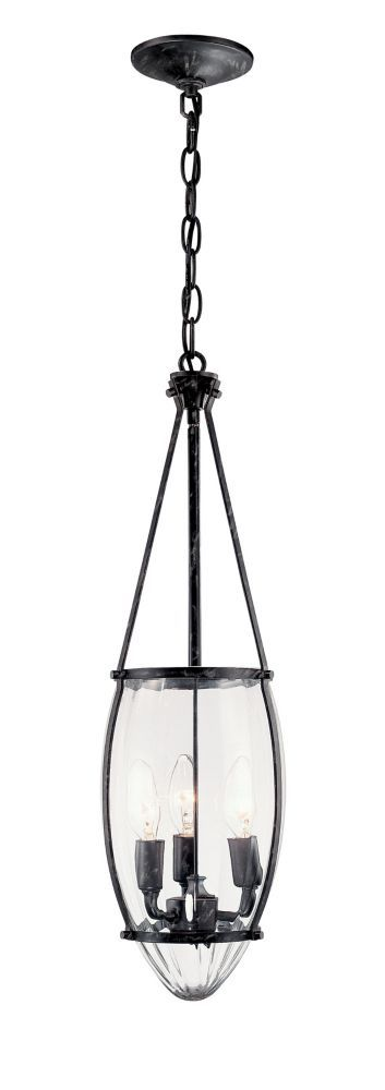 Crystal Elegance Collection 3-Light 120 in. Hanging Natural Iron Pendant